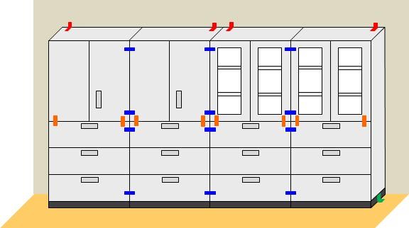 キャビネットの耐震固定工事方法